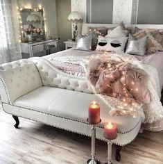 Ah! Never thought to put a chaise at the end of  bed!!! In love with this!! and you could run lights under the bed to create that ethereal glow