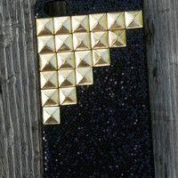 Iphone 4 Glitter Bling Pyramid Stud Phone Case Custom