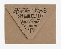 Triangle flap fill - Custom Hand Lettered Return Address Stamp by Worthwhile Paper Hand Lettering Envelopes, Mail Art Envelopes, Handwritten Letters, Calligraphy Envelope, Custom Envelopes, Monogram Fonts, Calligraphy Fonts, Script Fonts, Monogram Letters