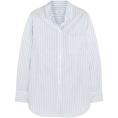 Equipment Margaux striped cotton shirt ($200) ❤ liked on Polyvore featuring tops, blouses, shirts, equipment, striped blouse, stripe shirt, striped top, relaxed fit shirt and equipment blouse