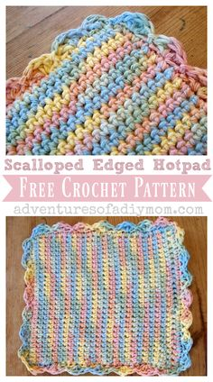 Make a crocheted hotpad with a scalloped edge with this free pattern. Includes step-by-step pictures. Stitches to know: chain, single crochet, double crochet, triple crochet, and slip stitch Scrap Yarn Crochet, One Skein Crochet, Crochet Hot Pads, Crochet Towel, Quick Crochet, Manta Crochet, Unique Crochet, Double Crochet, Single Crochet