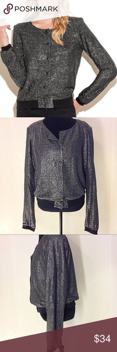 """GUESS METALLIC BOMBER JACKET SIZE XL EUC Shimmering bomber jacket that can be worn for a night out on the town or with your casual jeans and converse at the farmers market. Fully lined, collarless, metallic knit, ribbed knit sleeve cuffs and hem with padded shoulders.  Measures flat 23"""" arm pit to arm pit and 25"""" shoulder to hem. Guess Jackets & Coats"""