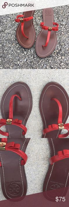 Red Thong sandals..... ️Great summer sandals☀️bought them wore them once. this style fits too big on me. see small scratch on the front.  send me your offer.  Tory Burch Shoes Sandals