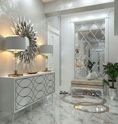 Awesome ideas for decorating the hallway with modern wall mirror designs, home interior wall mirror decor ideas for modern style apartments 2019 Hallway Decorating, Entryway Decor, Interior Decorating, Decorating Tips, Foyer, Living Room Decor Cozy, Bedroom Decor, Cozy Living, Wall Decor