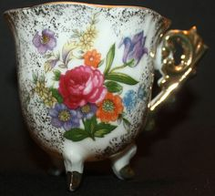 3453 Bone China Hand Painted Japan? - footed tea cup with flowers & 22k gold