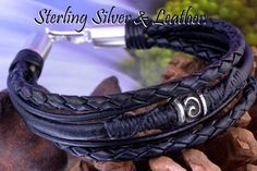 7B-836 Bravo & Co. Sterling Silver & Leather New Wristband Men Bracelet.