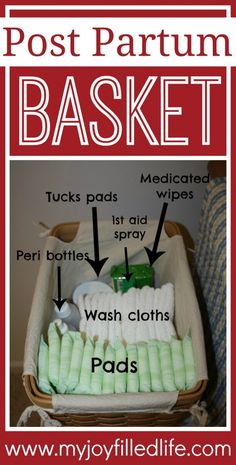 Post Partum Basket- cute gift idea for a pregnant mom at her baby shower or after baby is born. Always nice to focus on something for mom too! After Birth, After Baby, Doula, Just In Case, Just For You, Postpartum Care, Postpartum Recovery, Preparing For Baby, Baby Shower