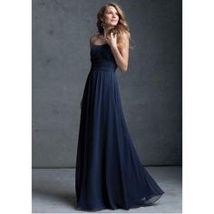A-Line Strapless Ruched Floor-Length Chiffon Dark Navy Bridesmaid Dress