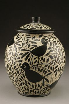 Blackbird Cookie Jar: Jennifer Falter: Ceramic Cookie Jar - Artful Home Ceramic Cookie Jar, Ceramic Jars, Ceramic Clay, Cookie Jars, Ceramic Pottery, Pottery Art, Slab Pottery, Pottery Studio, Sgraffito
