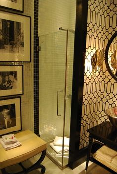 Suzie: Raul Martins - Art deco bathroom with small glass shower and glossy black bathroom ...
