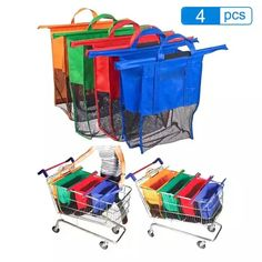A Set of Cartable Bags Reusable Grocery Cart Shopping Trolley Bags 4 Colors Reusable Shopping Bags, Reusable Bags, Trolley Bags, Handbag Stores, Shopper Tote, Courses, Tote Handbags, Tote Bags, Luggage Bags