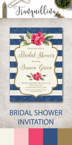 Nautical Bridal Shower Invitation Printable, Summer Bridal Shower Party Invitation, Pink & Blue Shower Ideas, Nautical Wedding, DIY Bridal Invitations. tranquillina.etsy.com