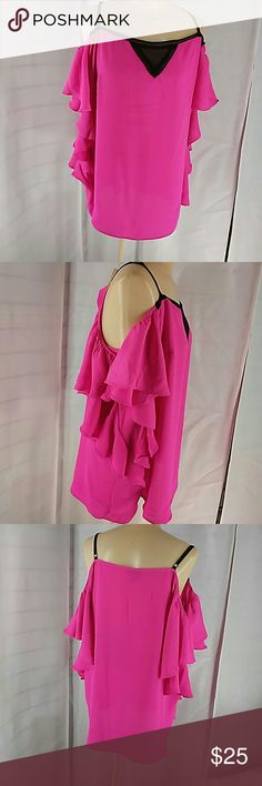 City Chic Cold Shoulder blouse Fushia and black cold shoulder blouse with side ruffles. Size s = 16. 100% Polyester City Chic Tops Blouses