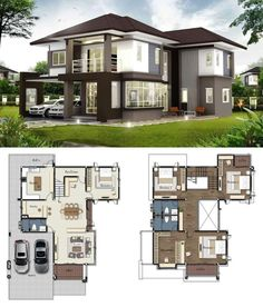 storey House Design Gorgeous 2 Storey House Concept With 4 Bedrooms Brick House Plans, Sims House Plans, Porch House Plans, Duplex House Plans, Luxury House Plans, Craftsman House Plans, House Layout Plans, Dream House Plans, House Layouts