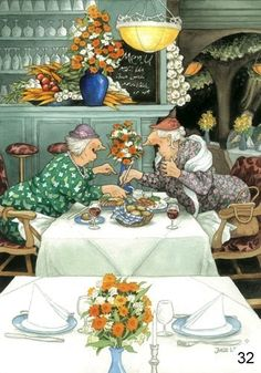 Wholesale Postcards of Inge Look, number 32 Old Lady Humor, Illustrator, Old Women, Getting Old, My Best Friend, Cool Art, Illustration Art, Friends Illustration, Old Things
