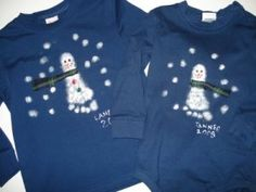 Snowman Footprint T-Shirt Craft