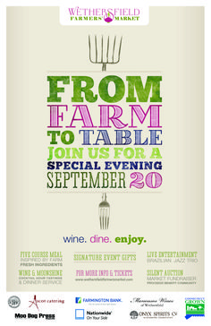 The Wethersfield Farmers Market Farm to Table Dinner Poster #Wethersfield #FarmersMarket