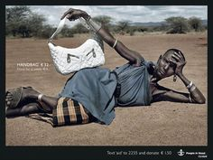 "Anticonsumptiopn campaign by NGO Cordaid, ""People in Need"": Handbag, 32 euros Food for a week, 4 euros"
