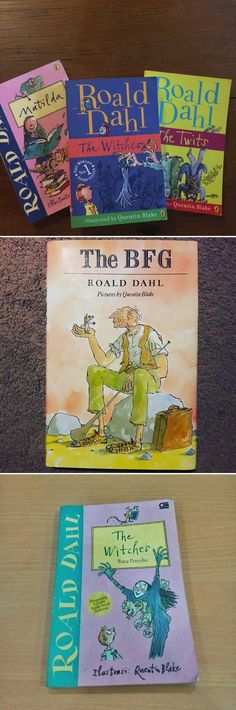 """Matilda,"" ""The BFG,"" ""The Witches,"" ""The Twits,"" and really any other books by Roald Dahl. Book Stairs, Roald Dahl Books, The Twits, Bfg, Matilda, Childhood, Witches, Book Covers, Homeschooling"