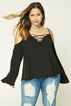 Forever 21+ - A knit top featuring a V-neckline with a lace-up design, cami straps, an open-shoulder design, long bell sleeves, and a curved hem.