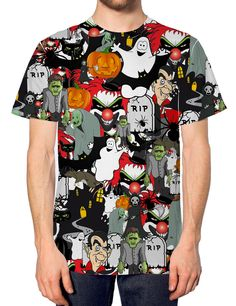 Halloween All Over T Shirt Funny Spooky Scary Witch Fancy Dress Costume Mens