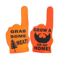 DIY sports foam hands.  Just made these.  Bought the blank white foam hands from Michael's craft store, painted them with orange acrylic paint, cut stencil w/ my cameo silhouette, then painted design w/ black acrylic paint...voila!
