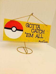 Pokemon sign - Pokemon wood door hang - gotta catch them all - pokemon home…