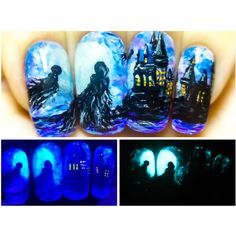 Dementors in Hogwarts. Harry Potter Glow in the Dark Nail Art. (43 CAD) ❤ liked on Polyvore featuring beauty products, nail care, nail treatments and nails