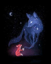 Celestial Art Print By Freeminds *More Things & Stuff Art Et Illustration, Illustrations, Fantasy Creatures, Mythical Creatures, Animal Drawings, Art Drawings, Drawing Animals, Fox Drawing, Art Fox