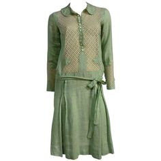 """1920s """"Gatsby"""" Style Mint Green Linen Day Dress w/ Eyelet Lace ❤ liked on Polyvore featuring dresses, 1920s flapper dress, sleeved dresses, roaring 20s dress, 20s flapper dress and gatsby dress"""
