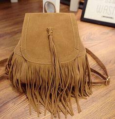 High Quality Tassel Design Women Backpacks Vintage Travel Suede Backpack lady daily Shoulder Back Bags
