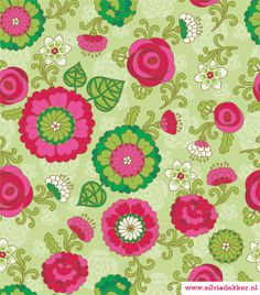 Silvia Dekker floral pattern, red, green and pink