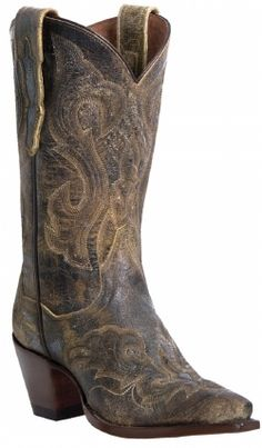 Dan Post Ladies Cowhide Cowboy Boot in Tan El Paso w/ Stitched Vamp & Fox @ Woods Boots