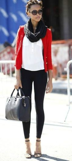Black, white, and red ♥ Color scheme. Red Blazer & those shoes.