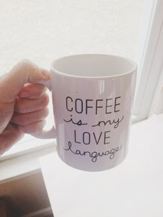 Yes...why, yes it is! Coffee is my love language mug by MODbyMel on Etsy, $16.00 @r2streu -- for Christmas??