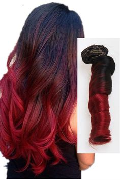 Black to Red Colorful Clip In Human Hair Extensions BLOG02 - Vpfashion