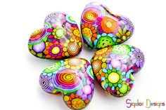 Valentine Hearts 4 Handmade polymer clay beads Fluffy by Sigaliot