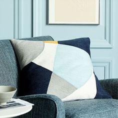 Crewel Pinwheel Pillow Cover - Seaglass Blue