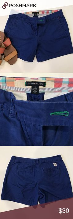 "Tommy Hilfiger Royal Blue Chino Shorts Tommy Hilfiger Royal Blue Chino Shorts. Size 4. Excellent condition. Button front and zip fly, front and back pockets. 100% cotton. 5.5"" length from crotch to bottom hem. Tommy Hilfiger Shorts"