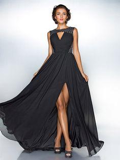 A-line Jewel Sweep/Brush Train Chiffon Evening Dress With Split Front inspired by Ziyi Zhang | LightInTheBox