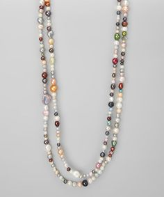 Take a look at this Blue & Ivory Freshwater Pearl Organic Shape 72 Endless Necklace by KWAN COLLECTIONS on #zulily today!