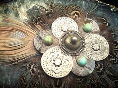 Tribal Hair Medallion Steampunk Feathers by ShopGoatFeathers