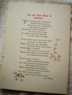 Tis the Last Rose of Summer ~ Thomas Moore (1779-1852). Such a Beautiful Poem!!