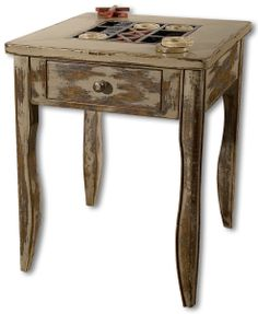 Uttermost TicTacToe Antique End Table