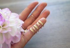 """Love these rings. Especially think the """"pinky swear"""" is hilarious. Would be cool as mom's rings w/the kids names."""