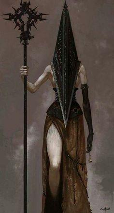 Pyramid Head as a woman, Silent Hill art. Silent Hill, 3d Fantasy, Dark Fantasy, Art And Illustration, Horror Art, Horror Movies, Pyramid Head, Red Pyramid, Fantasy Characters