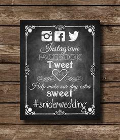 Social Media Hashtag Wedding Chalkboard Sign by SasafrasPrintables, $10.00