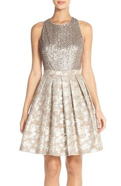 $285 Aidan by Aidan Mattox Sequin Jacquard Fit & Flare Dress available at #Nordstrom