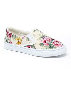 Love this Beige Floral Ribbon Slip-On Sneaker by Lucky Top on #zulily! #zulilyfinds