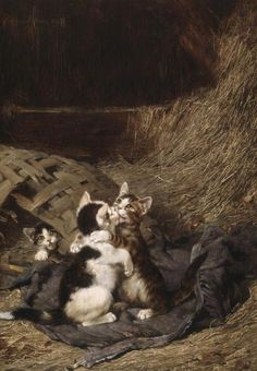 Henriette Ronner-Knip - Playing with the Guitar Charles van den Eycken - Kittens at Play Daniel Merlin - The Prisoners Leon-Charles Huber - Playful Kittens William Henry Hamilton Trood - Cats Brunel Neuville - Kittens Playing on a Desk Louis Eugene Lambert - Up to No Good Arthur Heyer - White…